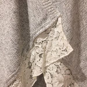 Poof! Shirts & Tops - Girls light grey lace trim fly-away cardigan -NWT
